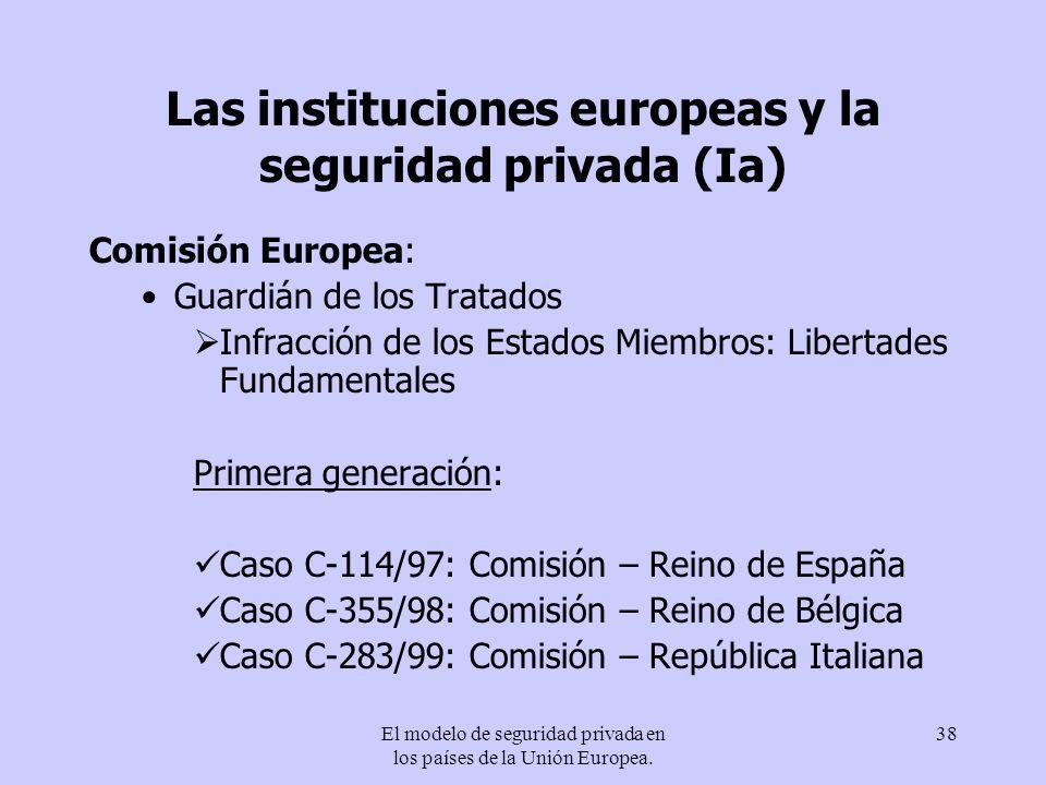 El modelo de seguridad privada en los países de la Unión Europea. 38 Las instituciones europeas y la seguridad privada (Ia) Comisión Europea: Guardián