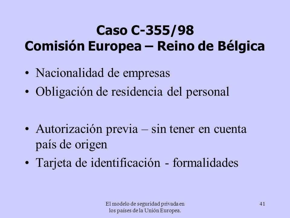 El modelo de seguridad privada en los países de la Unión Europea. 41 Caso C-355/98 Comisión Europea – Reino de Bélgica Nacionalidad de empresas Obliga