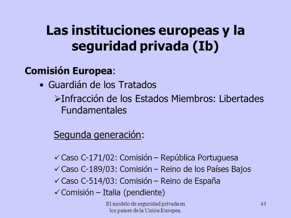 El modelo de seguridad privada en los países de la Unión Europea. 43 Las instituciones europeas y la seguridad privada (Ib) Comisión Europea: Guardián