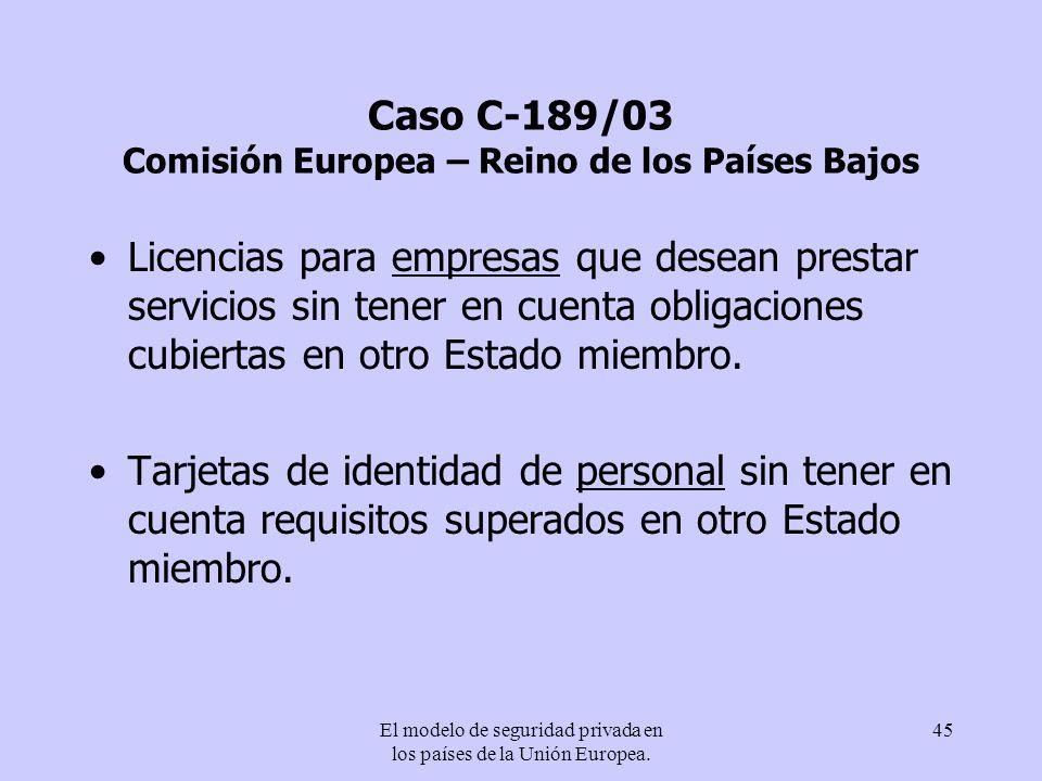 El modelo de seguridad privada en los países de la Unión Europea. 45 Caso C-189/03 Comisión Europea – Reino de los Países Bajos Licencias para empresa