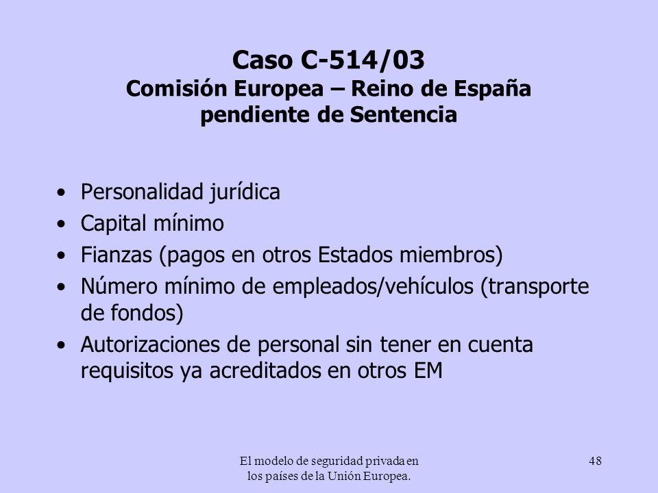 El modelo de seguridad privada en los países de la Unión Europea. 48 Caso C-514/03 Comisión Europea – Reino de España pendiente de Sentencia Personali