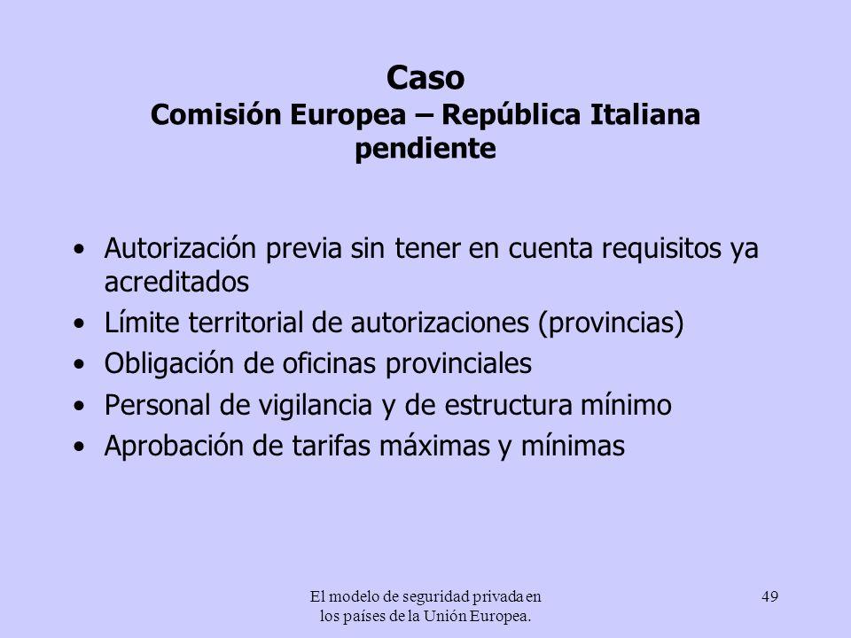 El modelo de seguridad privada en los países de la Unión Europea. 49 Caso Comisión Europea – República Italiana pendiente Autorización previa sin tene