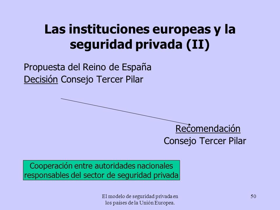 El modelo de seguridad privada en los países de la Unión Europea. 50 Las instituciones europeas y la seguridad privada (II) Propuesta del Reino de Esp