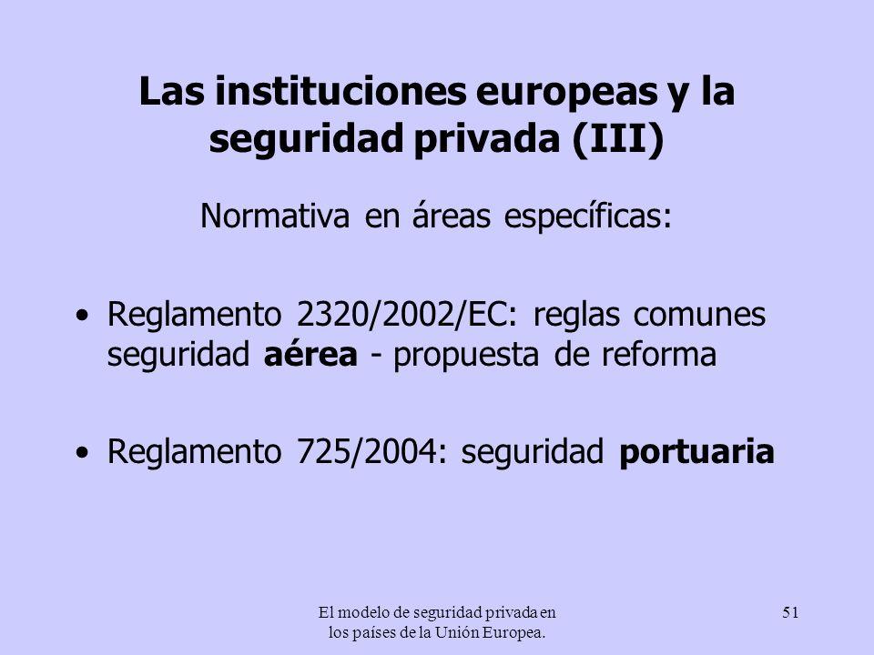 El modelo de seguridad privada en los países de la Unión Europea. 51 Las instituciones europeas y la seguridad privada (III) Normativa en áreas especí