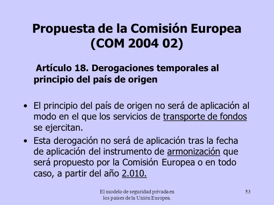 El modelo de seguridad privada en los países de la Unión Europea. 53 Propuesta de la Comisión Europea (COM 2004 02) Artículo 18. Derogaciones temporal