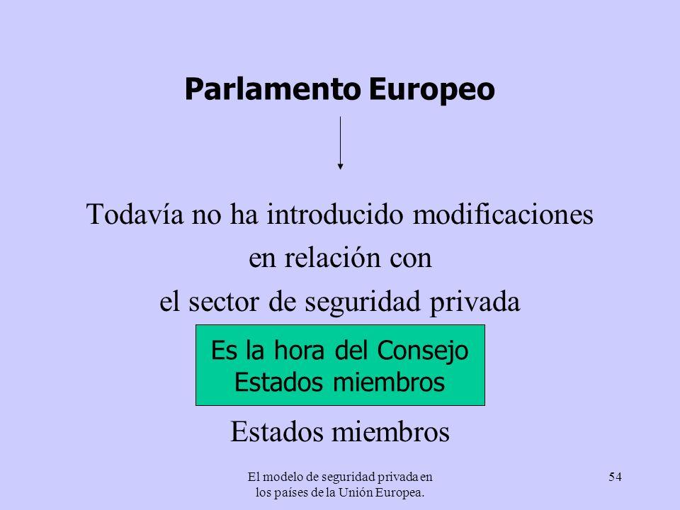 El modelo de seguridad privada en los países de la Unión Europea. 54 Parlamento Europeo Todavía no ha introducido modificaciones en relación con el se