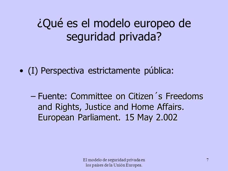 El modelo de seguridad privada en los países de la Unión Europea. 7 ¿Qué es el modelo europeo de seguridad privada? (I) Perspectiva estrictamente públ