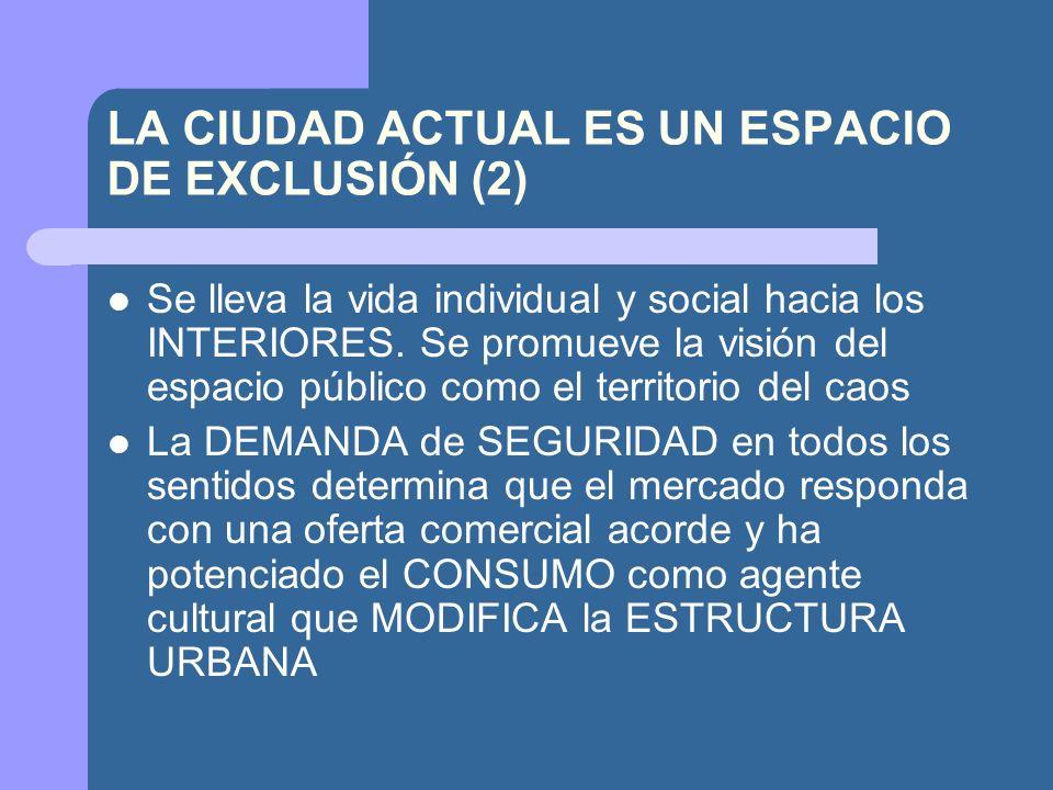 LA CIUDAD ACTUAL ES UN ESPACIO DE EXCLUSIÓN (2) Se lleva la vida individual y social hacia los INTERIORES.