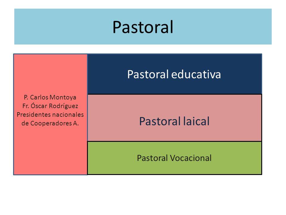 Pastoral Pastoral educativa Pastoral laical P. Carlos Montoya Fr. Óscar Rodríguez Presidentes nacionales de Cooperadores A. Pastoral Vocacional