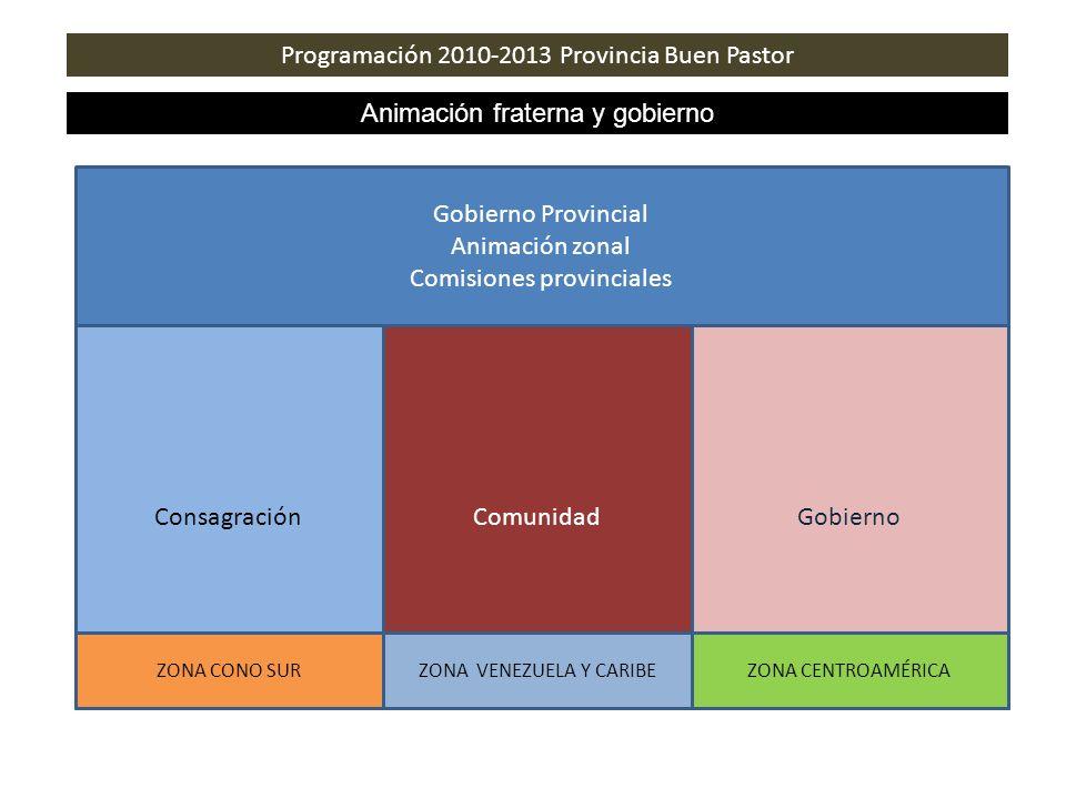 Programación 2010-2013 Provincia Buen Pastor Animación fraterna y gobierno Gobierno Provincial Animación zonal Comisiones provinciales ComunidadGobier