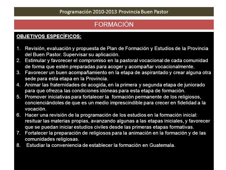 Programación 2010-2013 Provincia Buen Pastor FORMACIÓN OBJETIVOS ESPECÍFICOS: 1.Revisión, evaluación y propuesta de Plan de Formación y Estudios de la