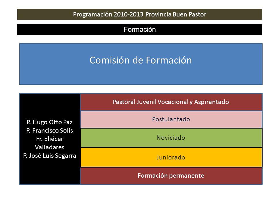 Programación 2010-2013 Provincia Buen Pastor Formación Comisión de Formación Pastoral Juvenil Vocacional y Aspirantado Postulantado P. Hugo Otto Paz P
