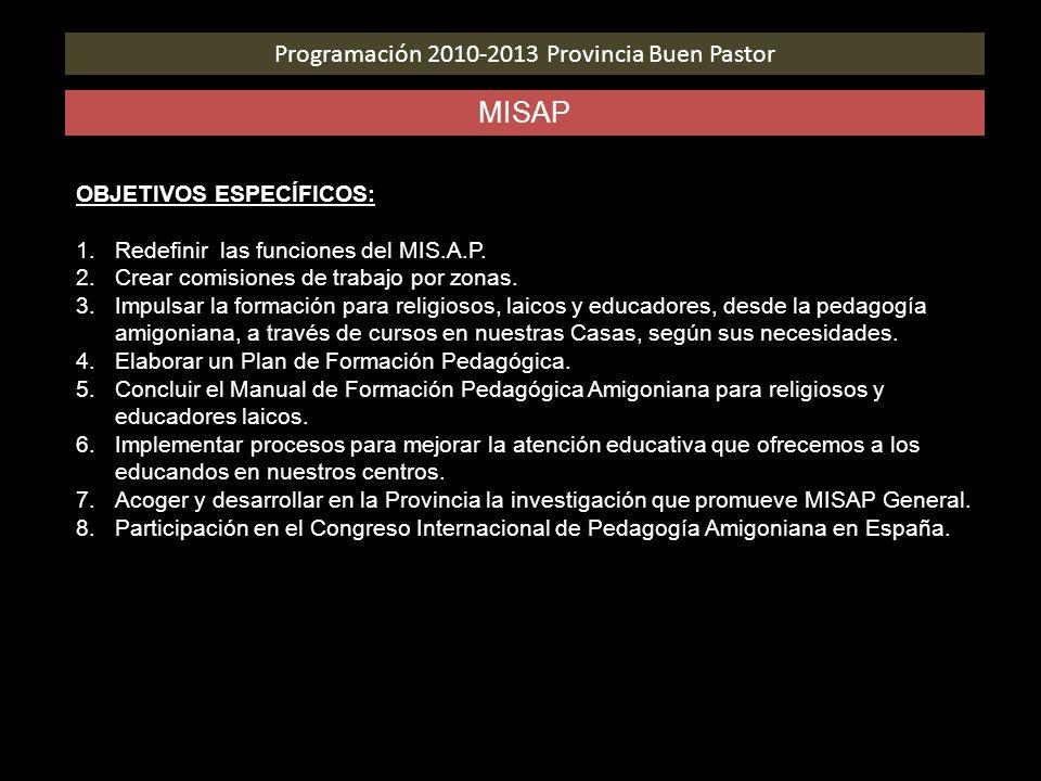 Programación 2010-2013 Provincia Buen Pastor MISAP OBJETIVOS ESPECÍFICOS: 1.Redefinir las funciones del MIS.A.P. 2.Crear comisiones de trabajo por zon