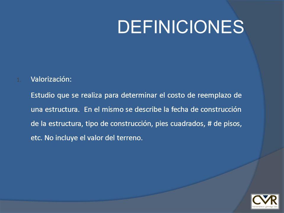 DEFINICIONES 1. Valorización: Estudio que se realiza para determinar el costo de reemplazo de una estructura. En el mismo se describe la fecha de cons
