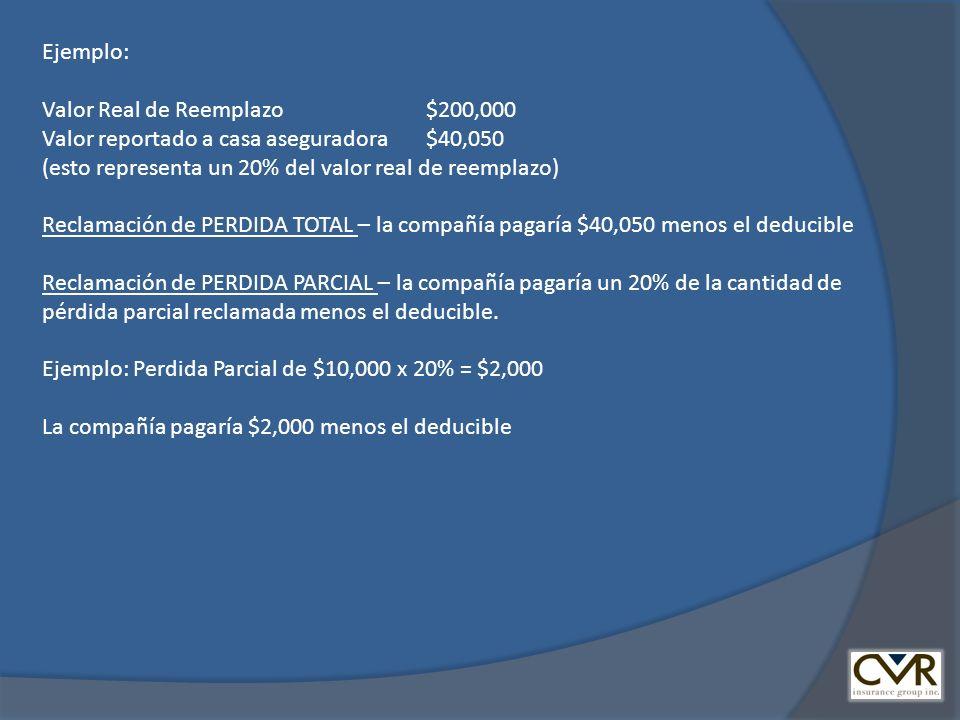 Ejemplo: Valor Real de Reemplazo $200,000 Valor reportado a casa aseguradora $40,050 (esto representa un 20% del valor real de reemplazo) Reclamación