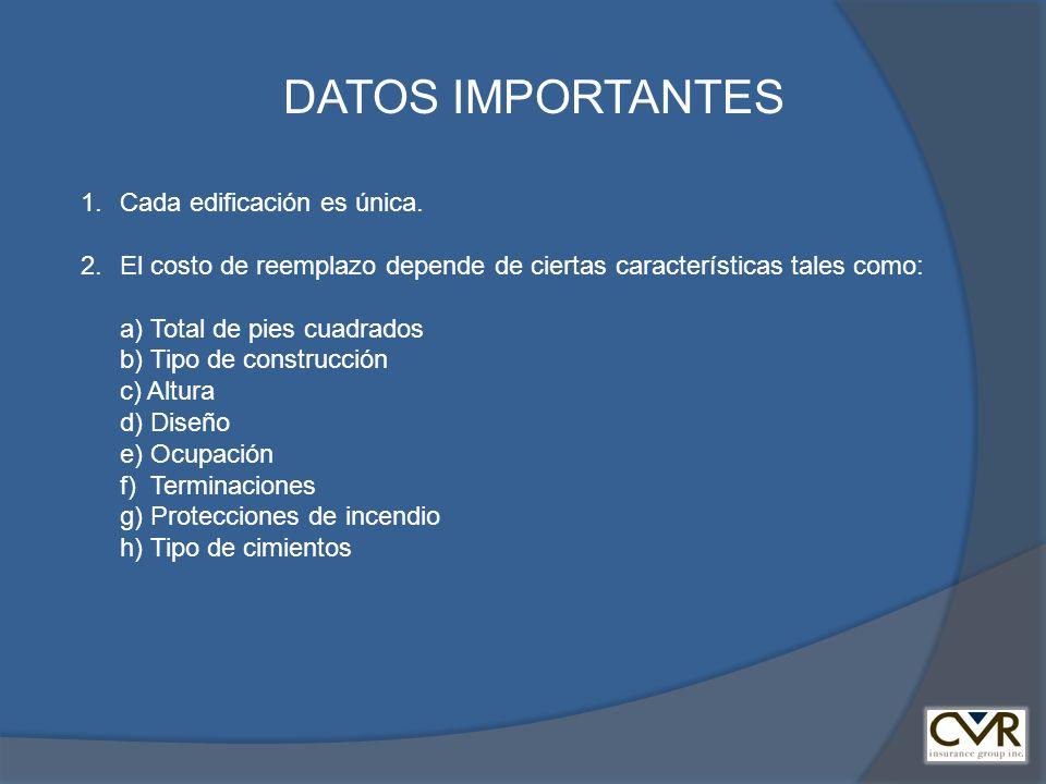 DATOS IMPORTANTES 1.Cada edificación es única. 2. El costo de reemplazo depende de ciertas características tales como: a) Total de pies cuadrados b) T
