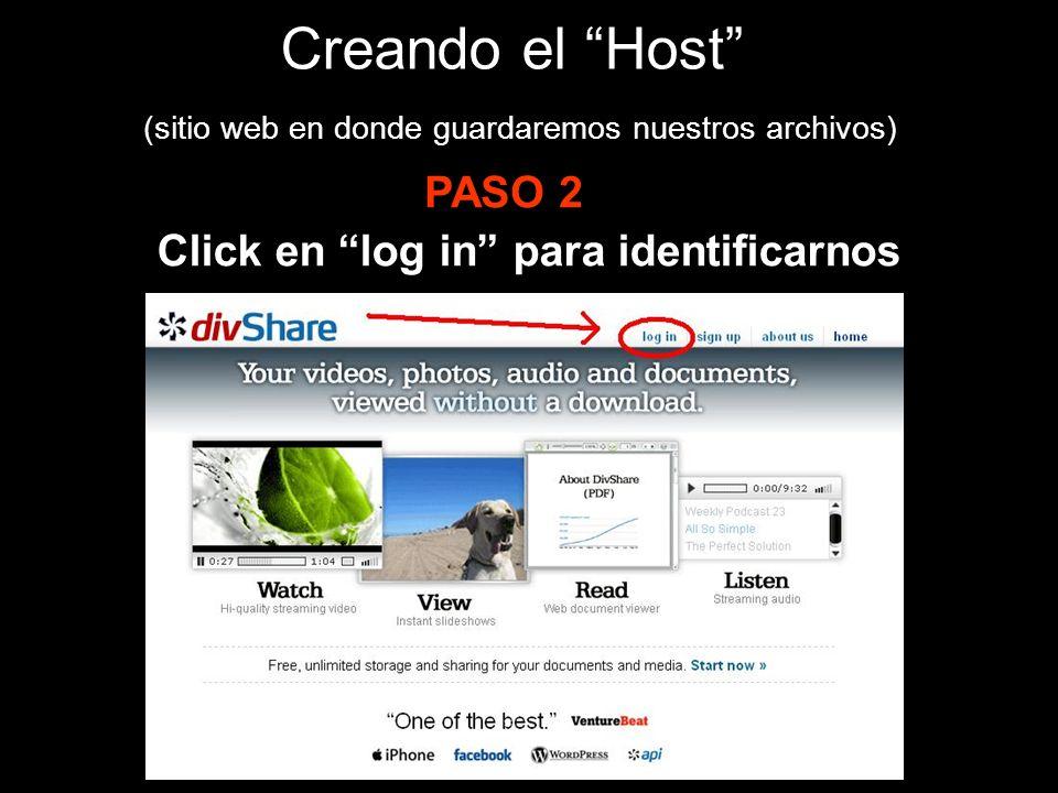 Creando el Host (sitio web en donde guardaremos nuestros archivos) PASO 2 Click en log in para identificarnos