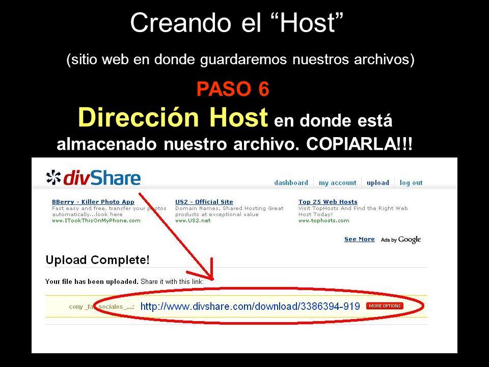 Creando el Host (sitio web en donde guardaremos nuestros archivos) Dirección Host en donde está almacenado nuestro archivo.