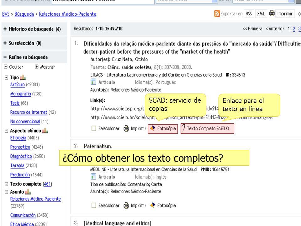 SCAD: servicio de copias Enlace para el texto en línea ¿Cómo obtener los texto completos