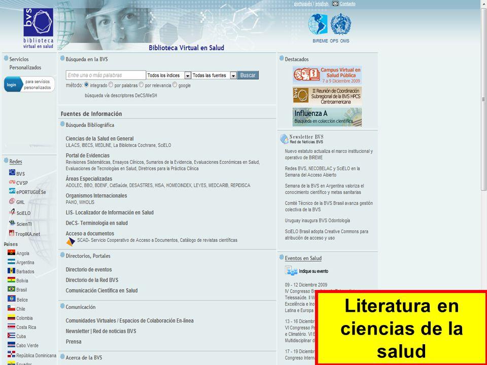 Literatura en ciencias de la salud