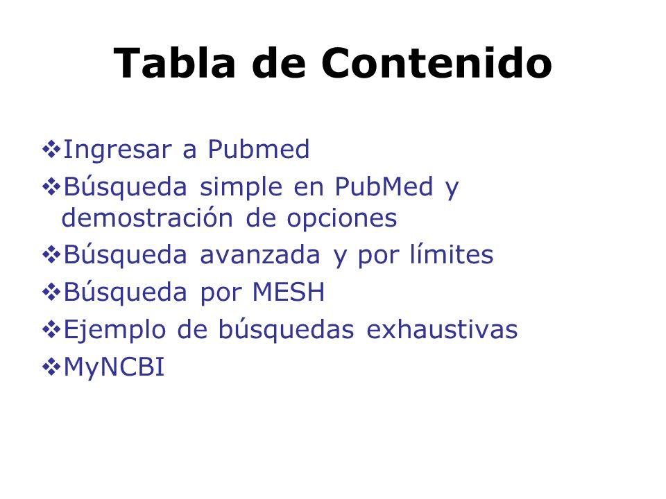 Tabla de Contenido Ingresar a Pubmed Búsqueda simple en PubMed y demostración de opciones Búsqueda avanzada y por límites Búsqueda por MESH Ejemplo de
