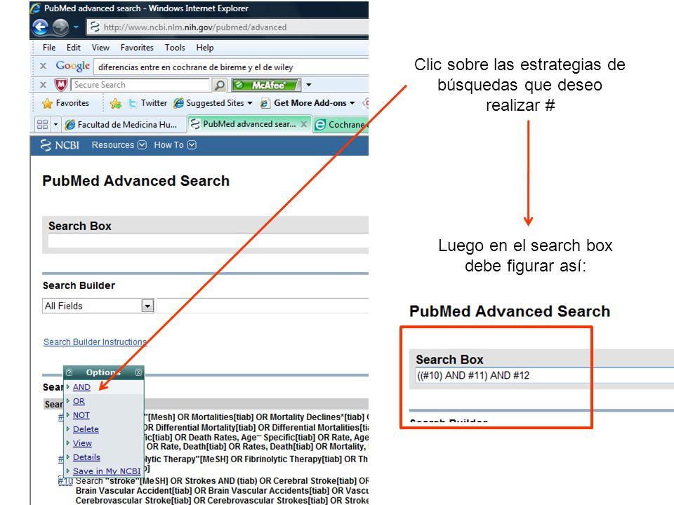 Clic sobre las estrategias de búsquedas que deseo realizar # Luego en el search box debe figurar así: