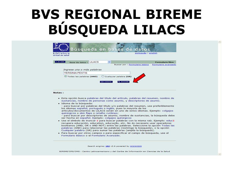 BVS REGIONAL BIREME BÚSQUEDA LILACS