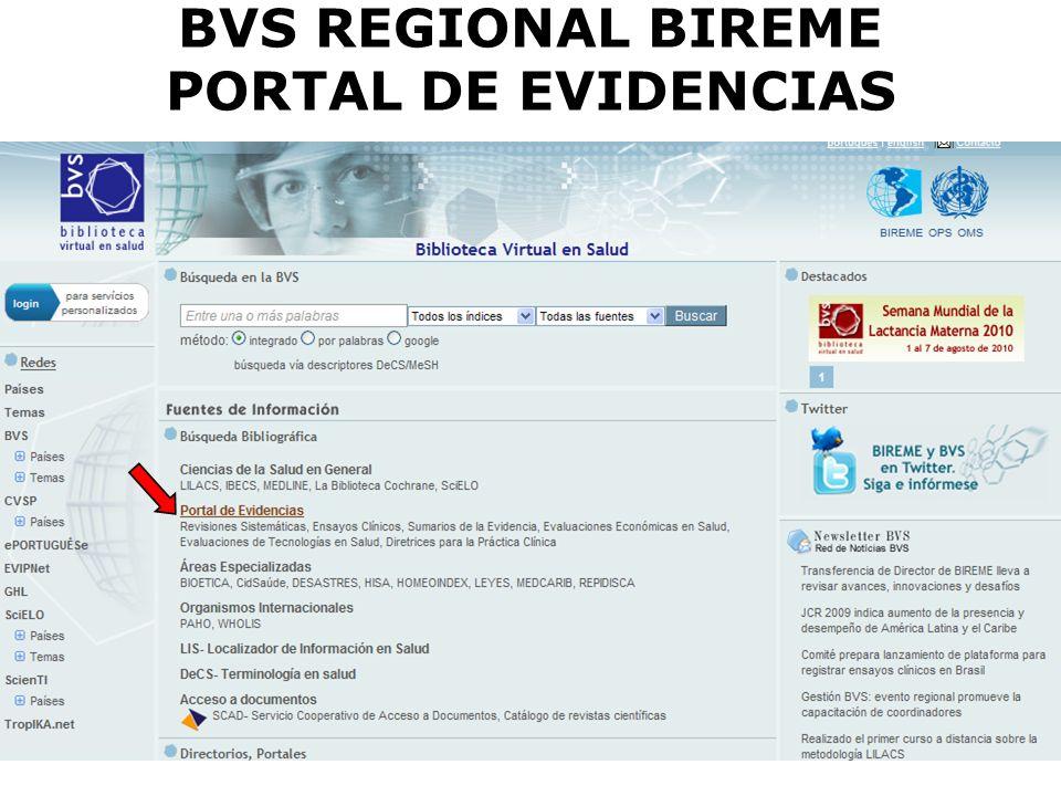 BVS REGIONAL BIREME PORTAL DE EVIDENCIAS