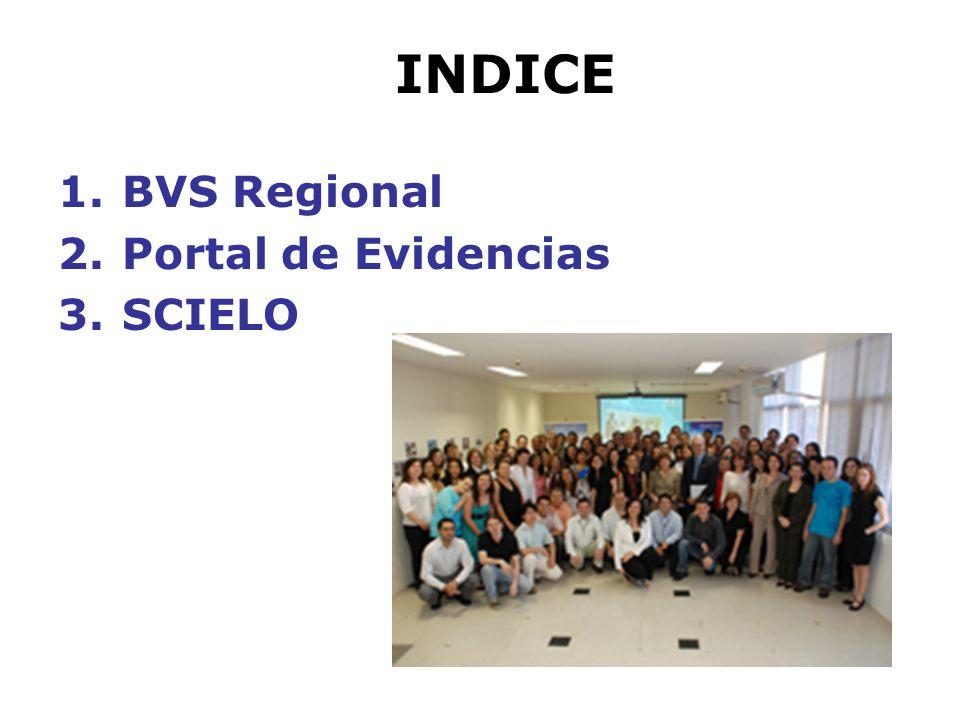 INDICE 1.BVS Regional 2.Portal de Evidencias 3.SCIELO