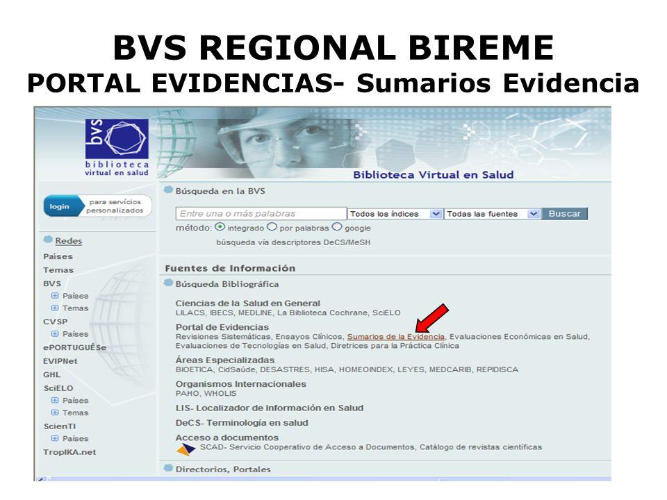 BVS REGIONAL BIREME PORTAL EVIDENCIAS- Sumarios Evidencia
