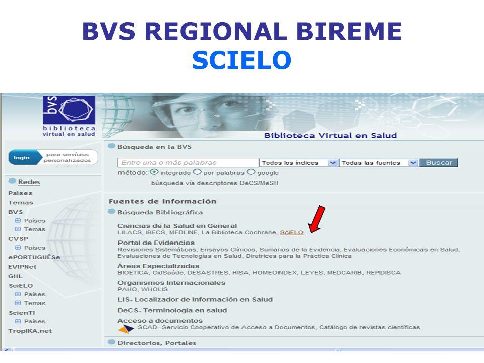 BVS REGIONAL BIREME SCIELO