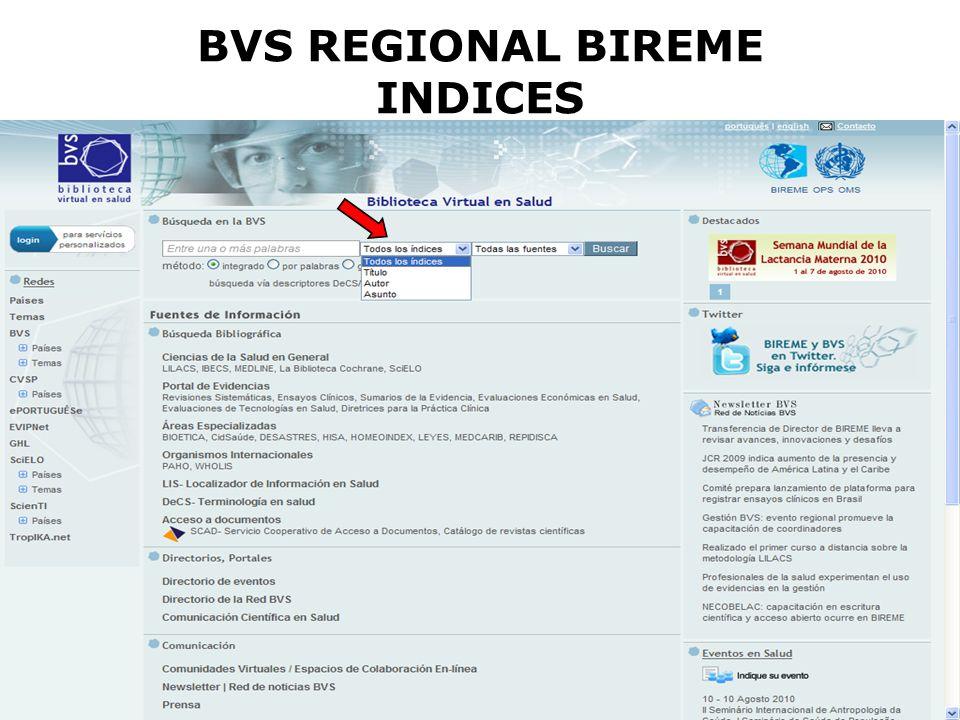 BVS REGIONAL BIREME INDICES