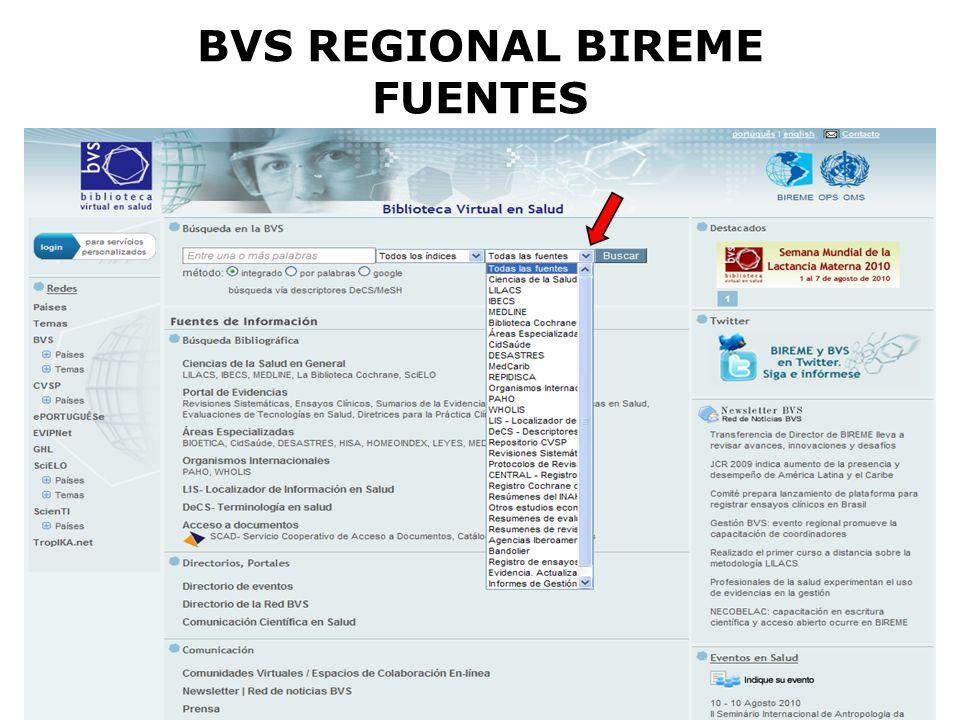 BVS REGIONAL BIREME FUENTES