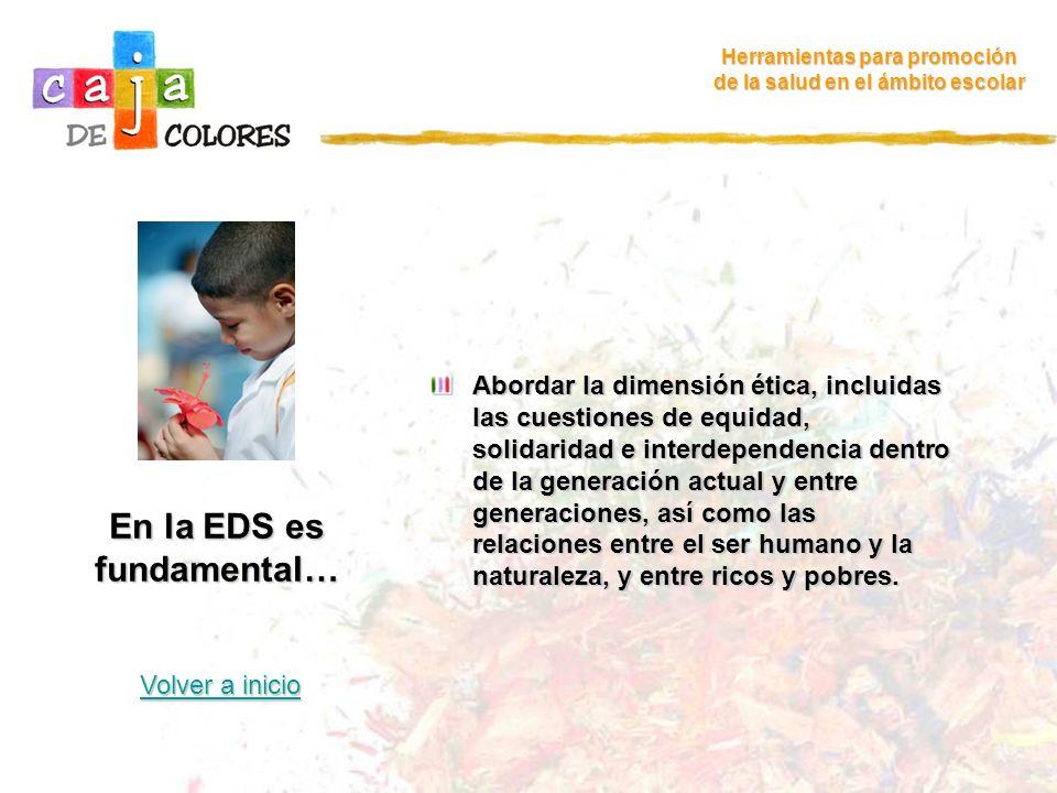 En la EDS es fundamental… Herramientas para promoción de la salud en el ámbito escolar Abordar la dimensión ética, incluidas las cuestiones de equidad