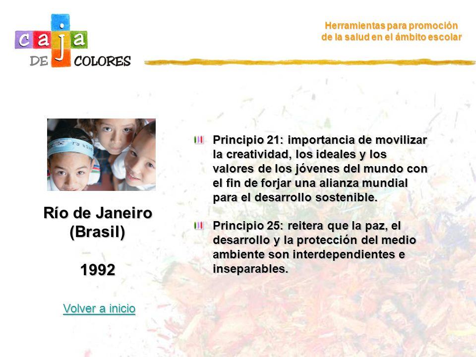 Río de Janeiro (Brasil) 1992 Volver a inicio Volver a inicio Herramientas para promoción de la salud en el ámbito escolar Principio 21: importancia de