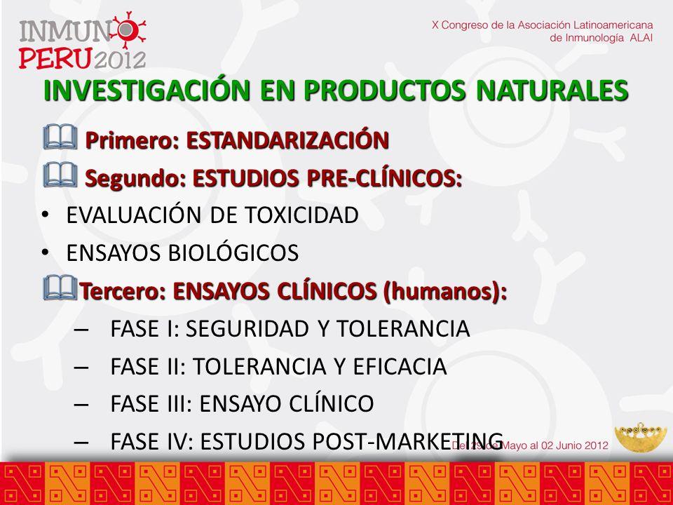 INVESTIGACIÓN EN PRODUCTOS NATURALES & Primero: ESTANDARIZACIÓN & Segundo: ESTUDIOS PRE-CLÍNICOS: EVALUACIÓN DE TOXICIDAD ENSAYOS BIOLÓGICOS & Tercero