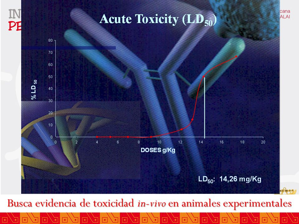 Busca evidencia de toxicidad in-vivo en animales experimentales