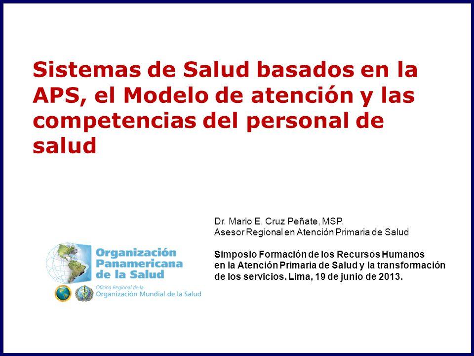 Dr. Mario E. Cruz Peñate, MSP. Asesor Regional en Atención Primaria de Salud Simposio Formación de los Recursos Humanos en la Atención Primaria de Sal