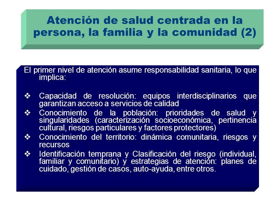 Atención de salud centrada en la persona, la familia y la comunidad (2) El primer nivel de atención asume responsabilidad sanitaria, lo que implica: C