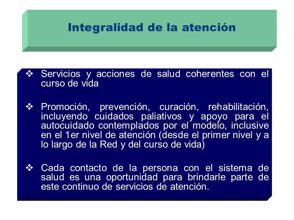 Integralidad de la atención Servicios y acciones de salud coherentes con el curso de vida Promoción, prevención, curación, rehabilitación, incluyendo cuidados paliativos y apoyo para el autocuidado contemplados por el modelo, inclusive en el 1er nivel de atención (desde el primer nivel y a lo largo de la Red y del curso de vida) Cada contacto de la persona con el sistema de salud es una oportunidad para brindarle parte de este continuo de servicios de atención.