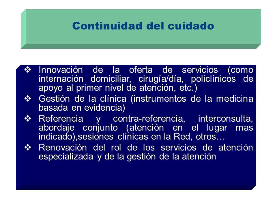 Continuidad del cuidado Innovación de la oferta de servicios (como internación domiciliar, cirugía/día, policlínicos de apoyo al primer nivel de atenc