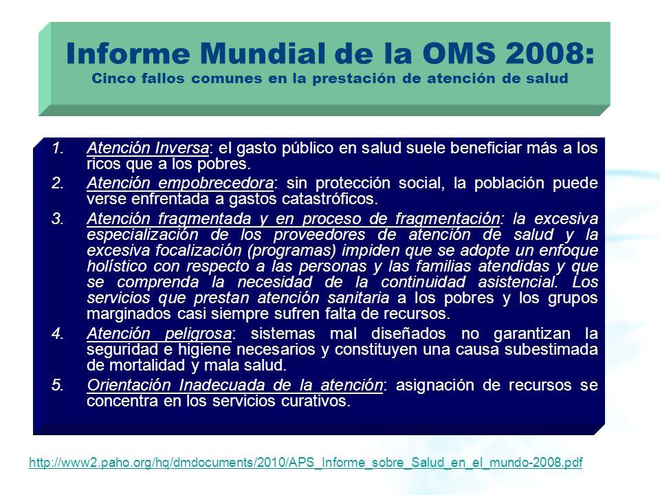Informe Mundial de la OMS 2008: Cinco fallos comunes en la prestación de atención de salud 1.Atención Inversa: el gasto público en salud suele benefic