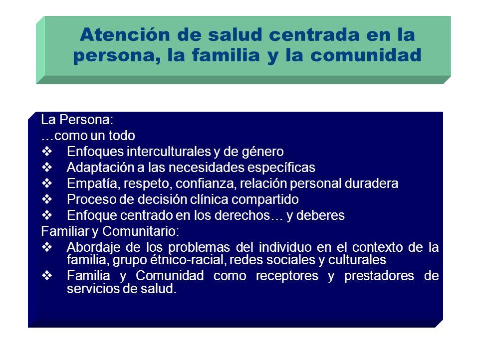Atención de salud centrada en la persona, la familia y la comunidad La Persona: …como un todo Enfoques interculturales y de género Adaptación a las ne