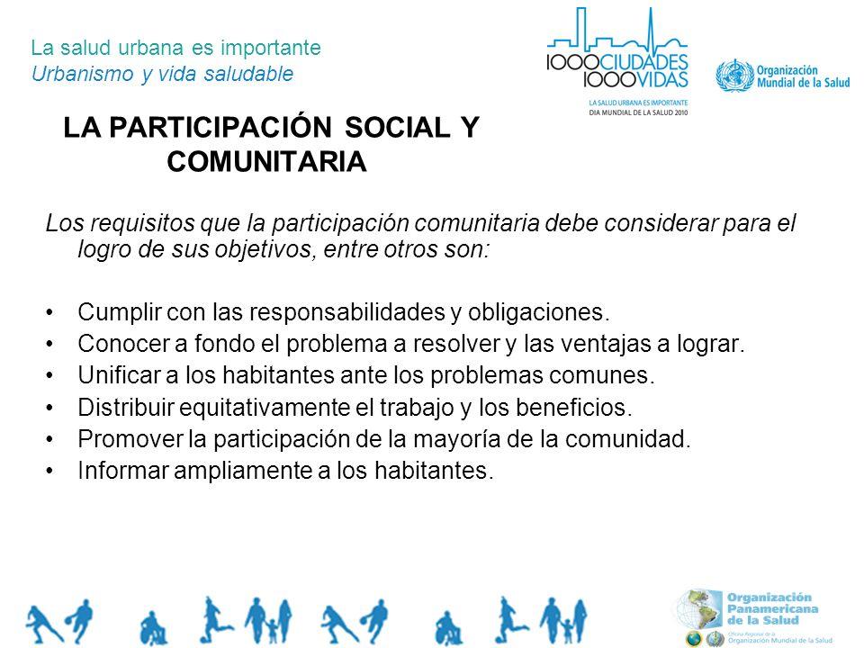 LA PARTICIPACIÓN SOCIAL Y COMUNITARIA La salud urbana es importante Urbanismo y vida saludable Los requisitos que la participación comunitaria debe co