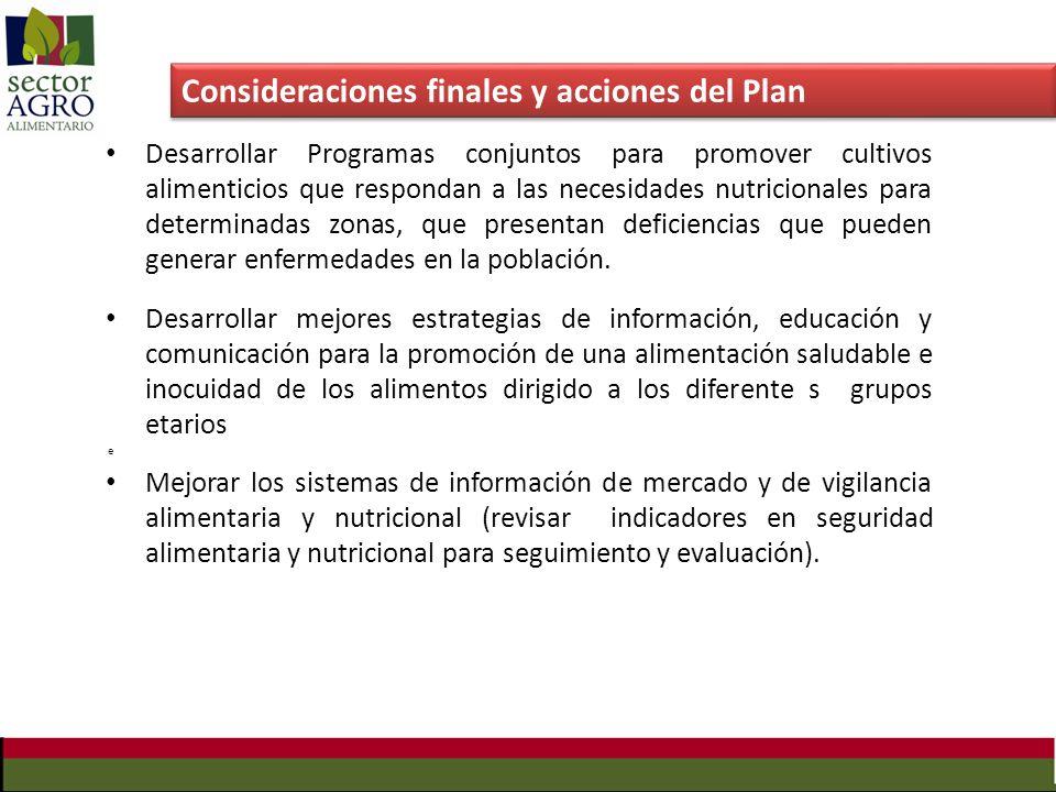 Consideraciones finales y acciones del Plan Desarrollar Programas conjuntos para promover cultivos alimenticios que respondan a las necesidades nutric