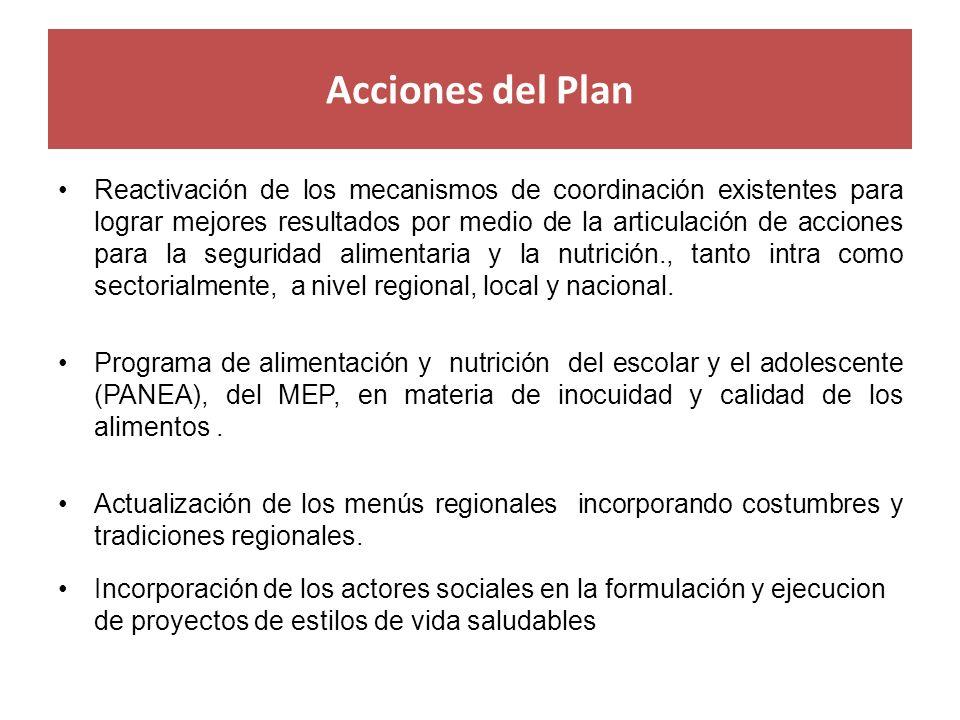 Acciones del Plan Reactivación de los mecanismos de coordinación existentes para lograr mejores resultados por medio de la articulación de acciones pa