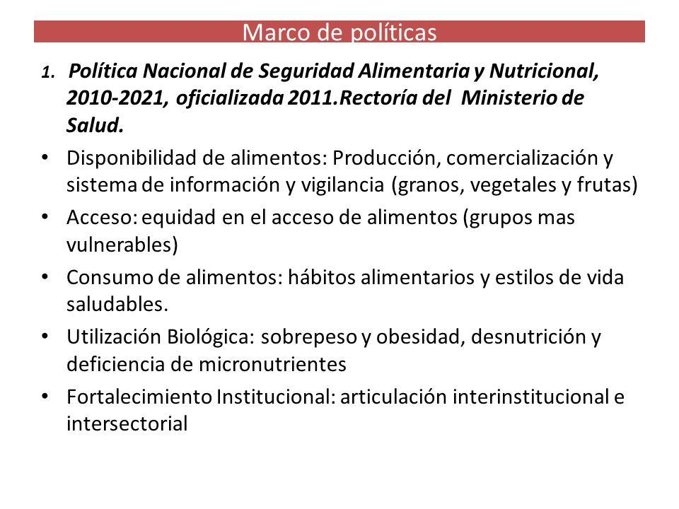 Marco de políticas 1. Política Nacional de Seguridad Alimentaria y Nutricional, 2010-2021, oficializada 2011.Rectoría del Ministerio de Salud. Disponi
