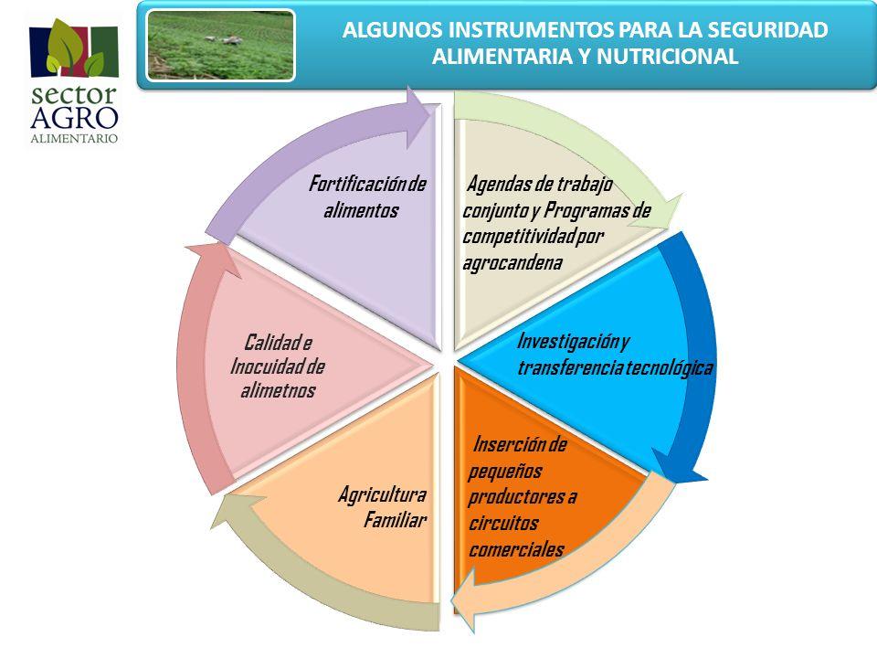 ALGUNOS INSTRUMENTOS PARA LA SEGURIDAD ALIMENTARIA Y NUTRICIONAL Agricultura Familiar Calidad e Inocuidad de alimetnos Fortificación de alimentos Agen