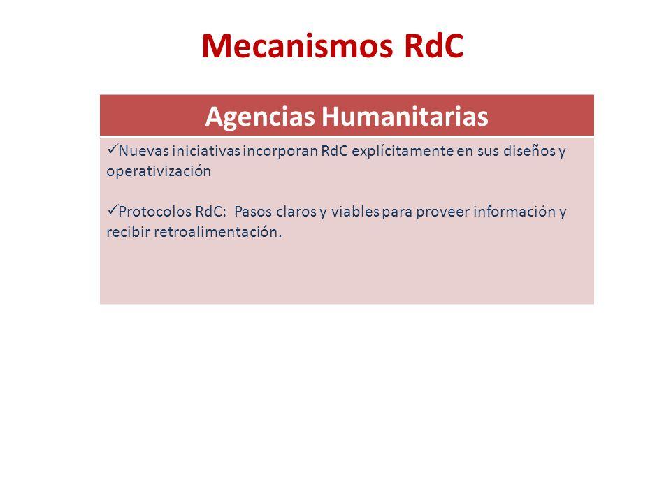 Mecanismos RdC Agencias Humanitarias Nuevas iniciativas incorporan RdC explícitamente en sus diseños y operativización Protocolos RdC: Pasos claros y viables para proveer información y recibir retroalimentación.