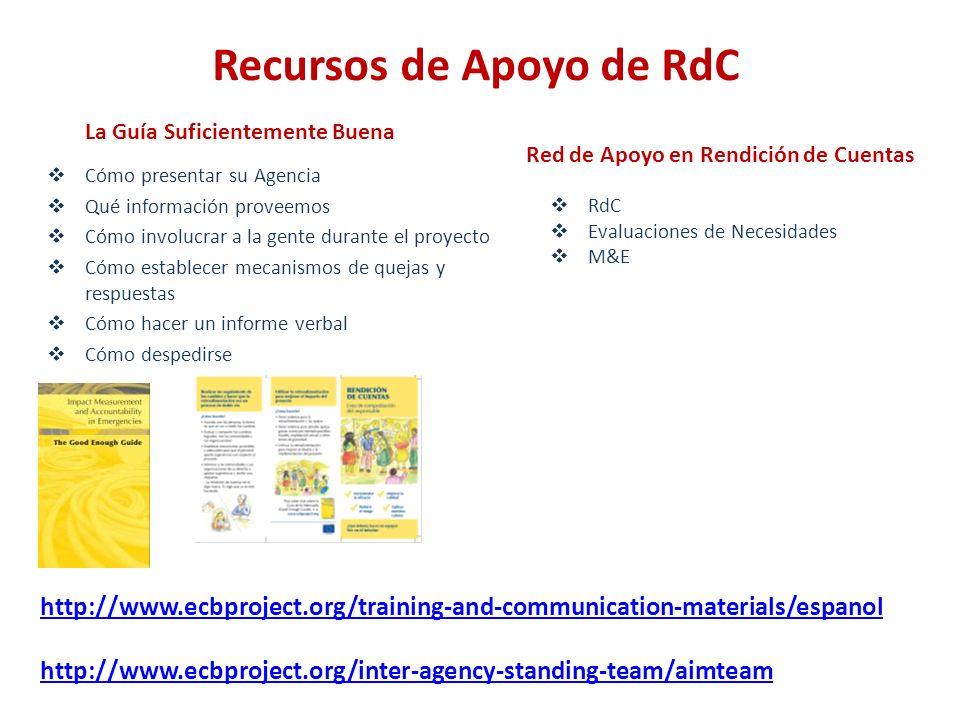 Un escenario Suficientemente Bueno Equipo Agencia Socio Donante Equipo Agencia Socio Donante RdC M&E Presentación del proyecto Folletos /Inf.